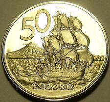 Rare Cameo Proof New Zealand 1974 50 Cents~Only 8,000 Minted~HMS Endeavour~Fr/Sh