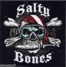 Salty Bones Scuba Dive Flag Decal Bumper Sticker mask knife skull gift men fish