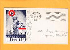 US Patriotic WWII Statue Liberty Jacksonville FL + Letter RE: Patriotics 1943 M