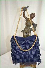 VINTAGE Authentique Adorable Sac Crochet et Perle Bleu TTBE