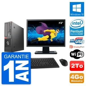 "PC Fujitsu E720 DT Ecran 19"" Intel G3220 RAM 4Go Disque Dur 2To Windows 10 Wifi"