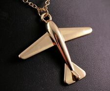 Alloy Gold Tone Airplane Pendant Chain/Necklace w/Free Jewelry Box and Shipping