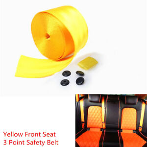 Yellow 3.8m Car Racing Harness 3 Point Front Seat Safe Retractable Lap Seat Belt