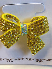 Crystal Rhinestone BOW Ponytail Hair Tie BLING!  Dance Cheer Twirl Pageant