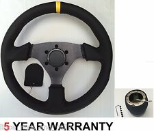 LEATHER DRIFT RALLY DRIFTING SPORTS STEERING WHEEL & BOSS KIT HUB FIT ALL TOYOTA