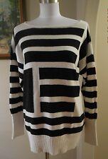 CATHERINE MALANDRINO Design Nation Art Deco Black White Oversize Sweater Medium