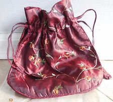 "SILK TAROT BAG BURGANDY DRAWSTRING FLORAL CARD CRYSTAL RUNES 9.5"" x 8"" CAT RESQ"