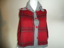 Ladies fearne cotton shoulder cape cardigan wool blend size 8 red grey mix