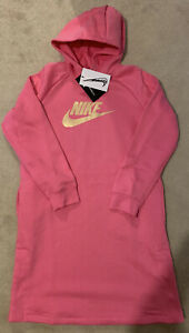 Girls Nike Pink Hoodie Dress New with Tags Age 8-10 Small S Jumper Gold Fleece