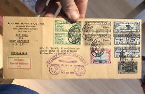 Rare Postal Postal Cover Graf Zeppelin, 1928 First Flight NY USA to SWITZERLAND