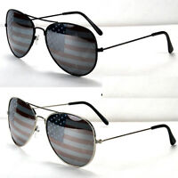 New Mens Womens Patriotic American Flag USA Lens Sunglasses Pilot Shades Aviator