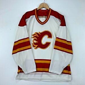 Calgary Flames Ccm Vintage Jersey Size Medium White Nhl Hockey