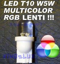 N° 1 Lampadina LED RGB MULTICOLOR LENTI T10 W5W Luci 12V tri cambia colore!!