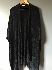 Vintage Churchill Handwoven Weavers Black Chenille Blanket Fringe Shawl Cape