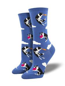 Border Collie Dog Socks - Blue SockSmith Cotton Womens