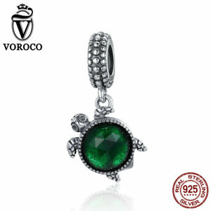 Voroco Turtle Charm 925 Sterling Silver Bead Pendant Green Crystal For Bracelet