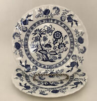 "Johnson Brothers Blue Nordic Onion Pattern Set of 2-Dessert /Bread Plates 6 1/4"""