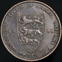 1888 | Jersey Victoria One Twenty-Fourth Of A Shilling | Bronze | KM Coins