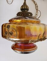 Vintage Mid Century Carl Falkenstein Colorful Irridescent Swag Hanging Lamp Wow!