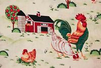 MD43 Farm Scene Rooster Chicken Chick Barn Barnyard Cotton Fabric Quilt Fabric
