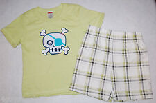 Toddler Boys Shorts Set LIME GREEN Skull 2T TEE SHIRT Plaid Shorts BLACK White