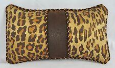 Pillow made w Ralph Lauren Venetian Court Leopard & Faux Brown Leather Fabric