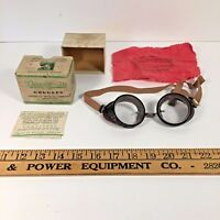 Vintage American Optical Co Duralite 50 safety goggle glasses aviator w Orig box