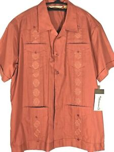 Havanera Dress Shirt Men Size Large Rust Button Front Embroidered 4 Pockets NWT