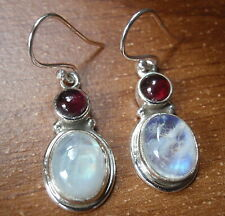 Garnet and Moonstone Oval Round 925 Sterling Silver Dangle Earrings