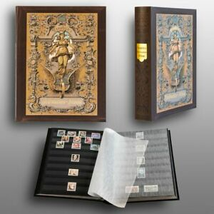 Prophila Stamp Collector's Album with 60 Black Pages Stockbook in Heritage Desig