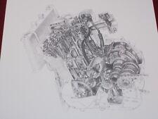 1985 thru 1992 SUZUKI GSXR-750 OIL COOLED ENGINE MOTOR 8.5 X 11  ART PRINT
