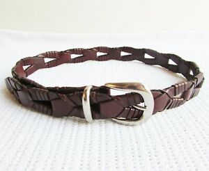 WCM New York Size XS/S Cognac Brown Woven Leather Belt Silver Brass Buckle 80cm