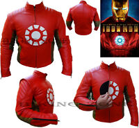 IRON MAN STYLE MENS REMOVABLE LOGO CE ARMOUR MOTORBIKE/MOTORCYCLE LEATHER JACKET
