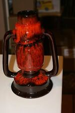 CANADA RED CLAY ART POTTERY BROWN/RED DRIP GLAZE VASE 2 HANDLES LANTERN TYPE