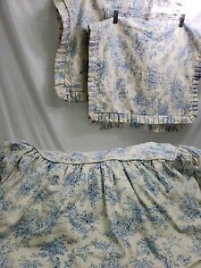 """Jane Wilner Design Blue Toile """"Central Park"""" King Sized Bed Skirt Pair King Sham"""