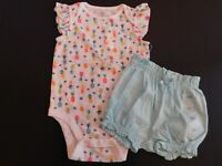 NWT Baby Gap Girl's 2Pc Bodysuit & Bubble Shorts 18M-24M MSRP$30 New Free Ship