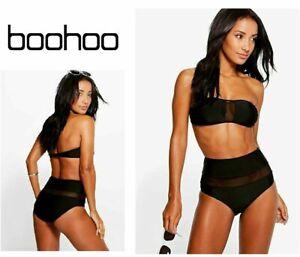 ladies & girls BOOHOO BIKINI BLACK mesh SIZE 6 swimming swim costume top Bottoms