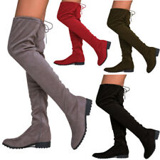 Womens Ladies Over The Knee Thigh High Boots Lace Up Flat Heel Shoes Boots P1