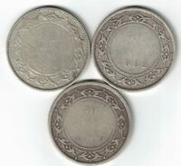 3 X NEWFOUNDLAND FIFTY CENT QUEEN VICTORIA 925 SILVER COINS 1880 1882H 1885