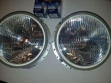 Flat hella H4 head light vintage vw volkswagen bug super beetle thing ghia pair