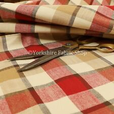 DESIGNER Red Traditional Tartan Check Pattern Chenille Upholstery Curtain Fabric