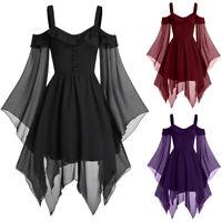 Women Gothic Criss Cross Lace Insert Butterfly Sleeve T-shirt  Tunic Tops Blouse