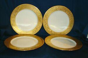 """T&V Limoges 4 Gold Encrusted 11"""" Dinner Plates"""