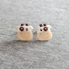 Cow Earrings White Animal Farmers Ball Funny Funky Small Stud Earrings Jewelry