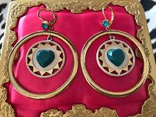 Betsey Johnson Vintage Indian Summer Turquoise Heart Dream Catcher Hoop Earrings