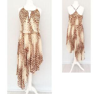 Warehouse Dress 8 Animal Print Asymmetric Strappy Party Wedding Formal NEW £75