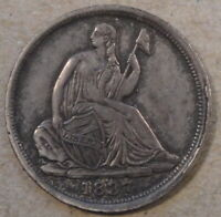 1837 Small Date Seated Liberty Half Dime XF Obv Rim Cuds