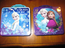 Nwt Lot Disney Frozen Anna Elsa Queen of Ice Snow Tin Carry All Purse Lunchbox