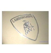LAMBORGHINA Chrome Silver Sticker 30mm x 28mm Metallic Logo Exterior Car Body