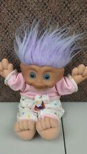"vintage treasure trolls 12"" purple hair white pink shirt purple chest gem troll"